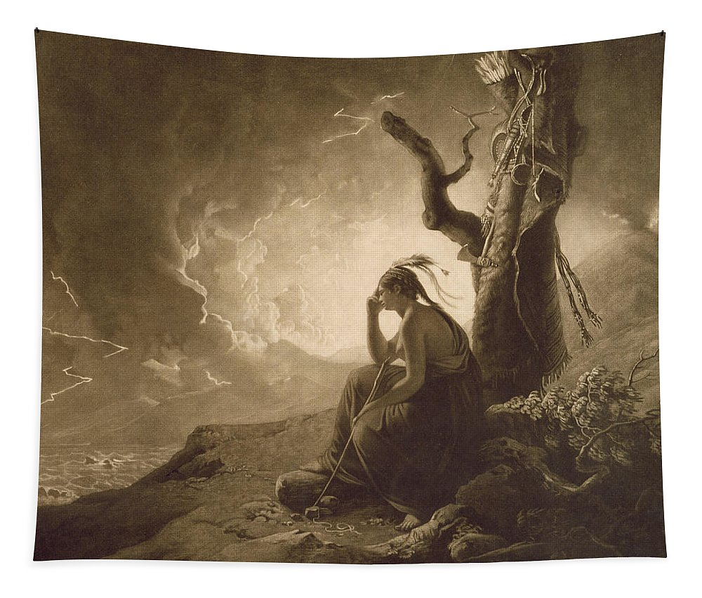 Xyc284841 Tapestry featuring the photograph The Indian Widow by Joseph Wright of Derby