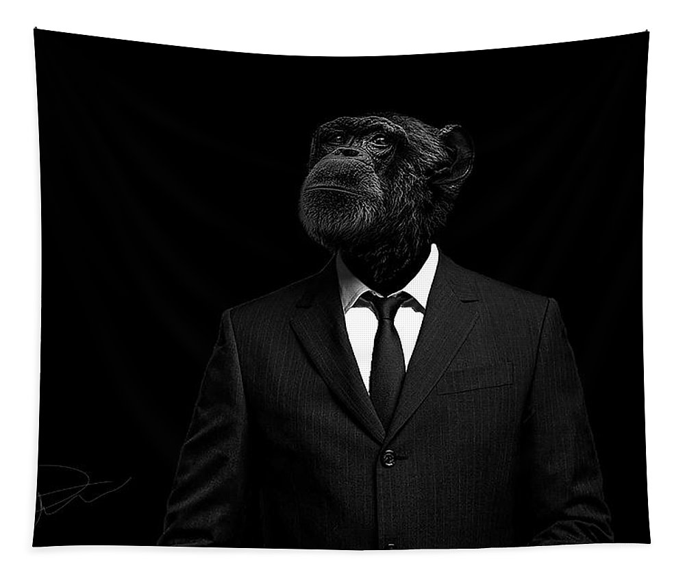 Chimpanzee Tapestry featuring the photograph The interview by Paul Neville