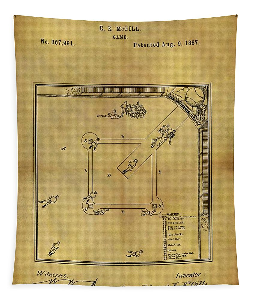 The Invention Of Baseball Tapestry featuring the drawing The Invention Of Baseball by Dan Sproul