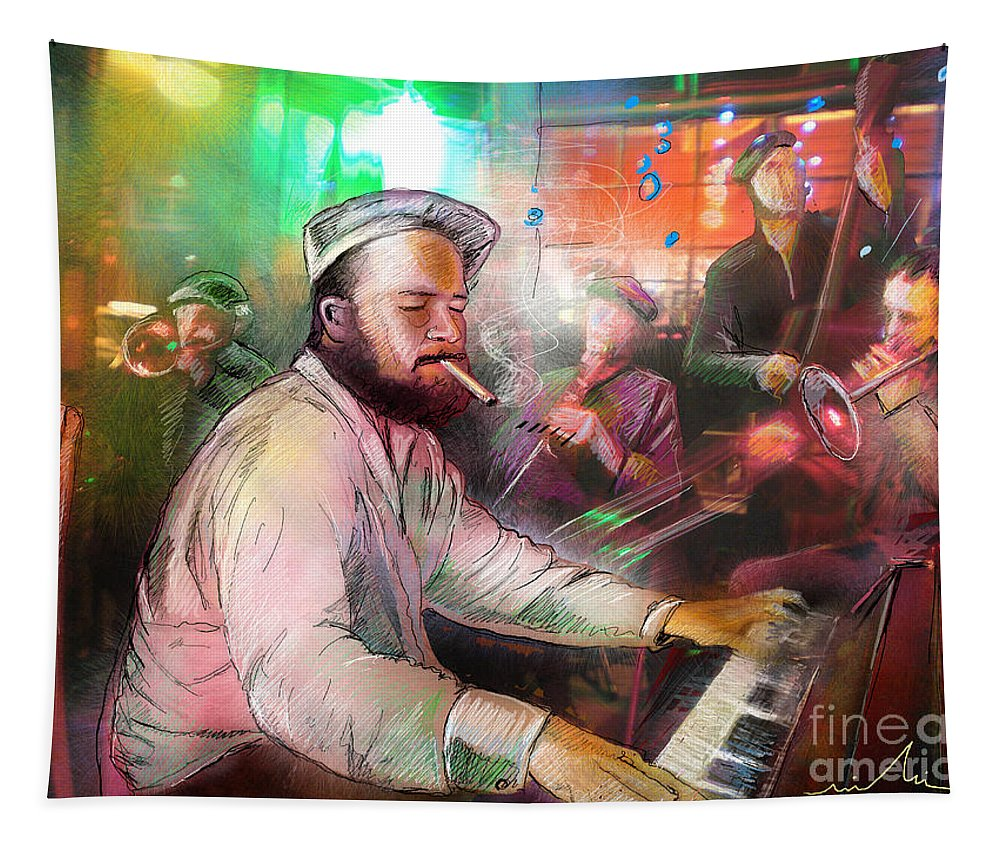 Jazz Tapestry featuring the painting The Jazz Vipers In New Orleans 04 by Miki De Goodaboom