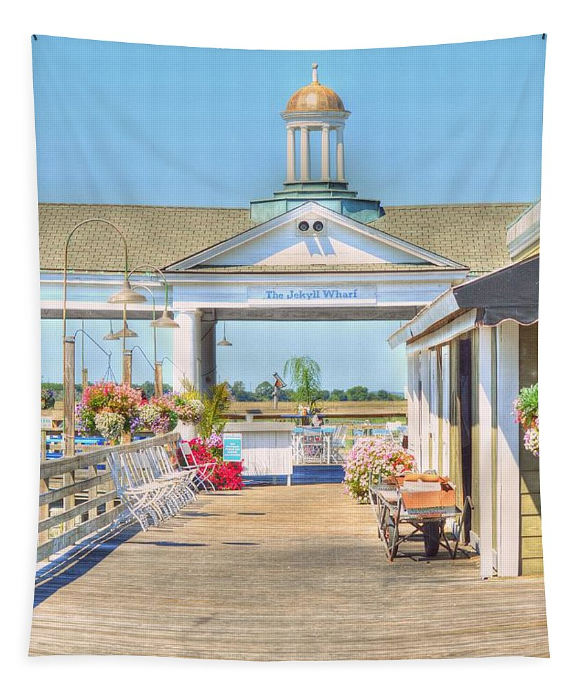 Wharf Tapestry featuring the photograph The Jekyll Wharf by Linda Covino
