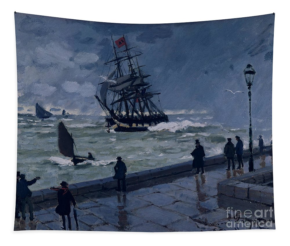 The Jetty At Le Havre Tapestry featuring the painting The Jetty At Le Havre In Bad Weather by Claude Monet