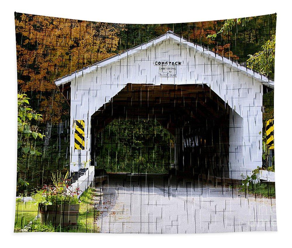 Cover Bridge Tapestry featuring the mixed media The Jewel Bros. by Deborah Benoit