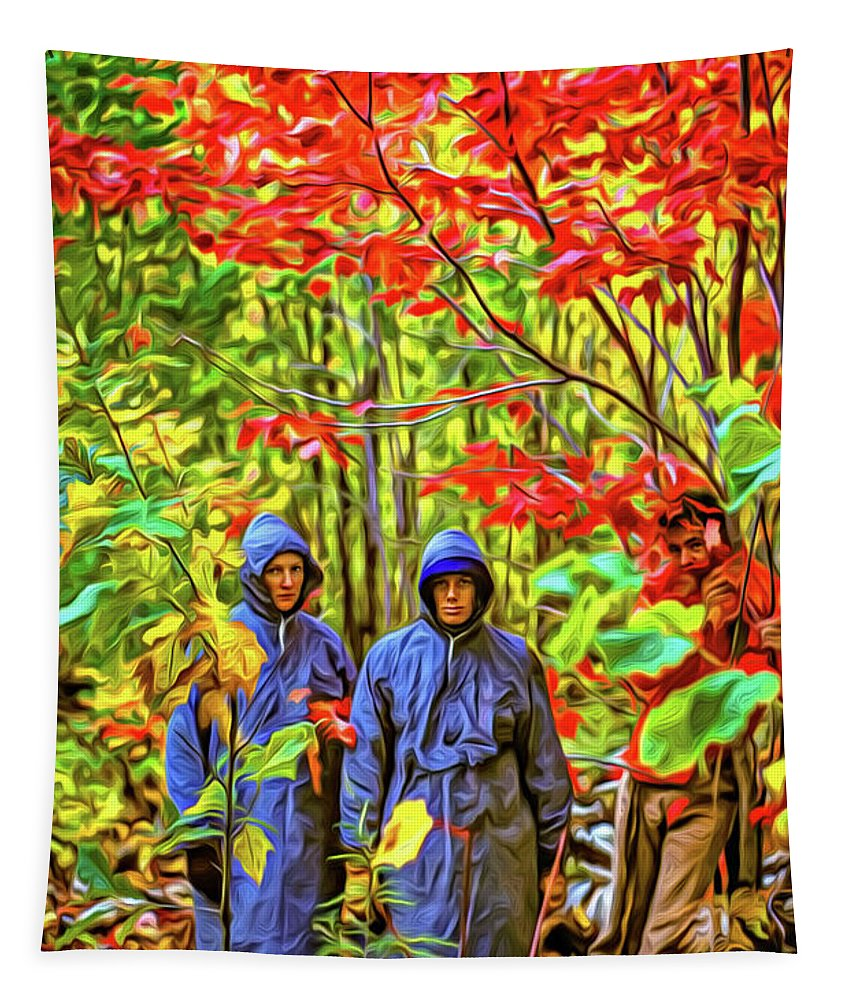 Steve Harrington Tapestry featuring the photograph The Joys Of Autumn Camping - Paint by Steve Harrington