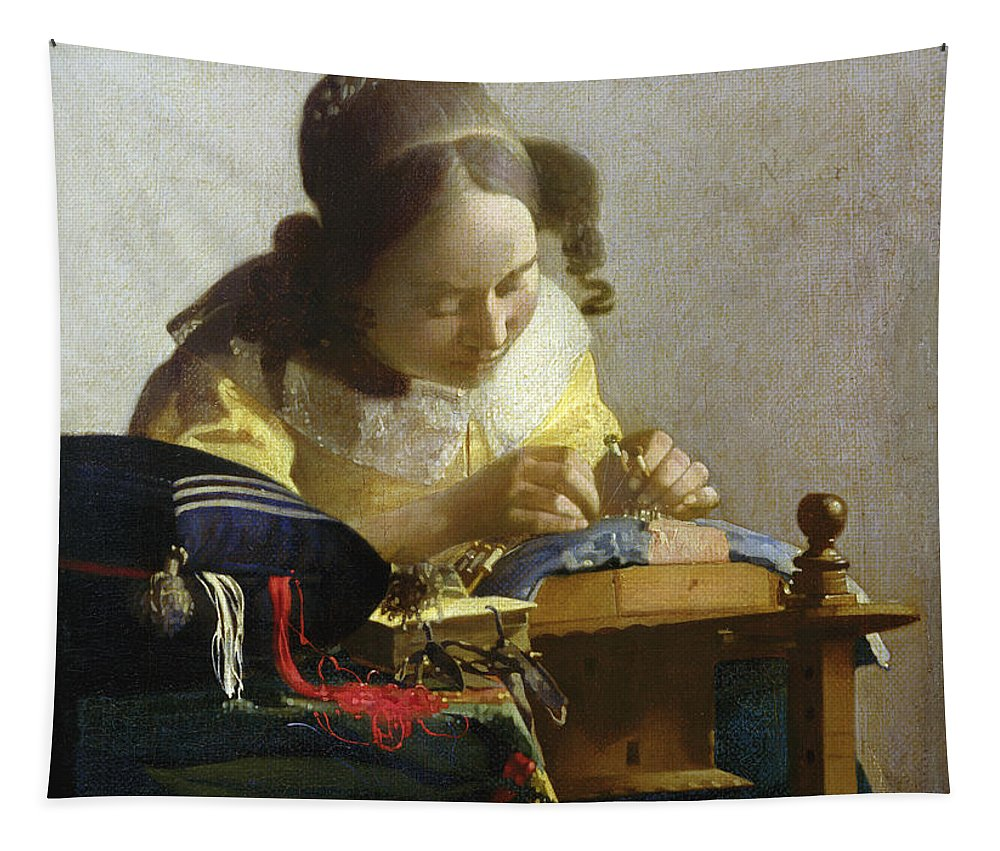 The Tapestry featuring the painting The Lacemaker by Jan Vermeer