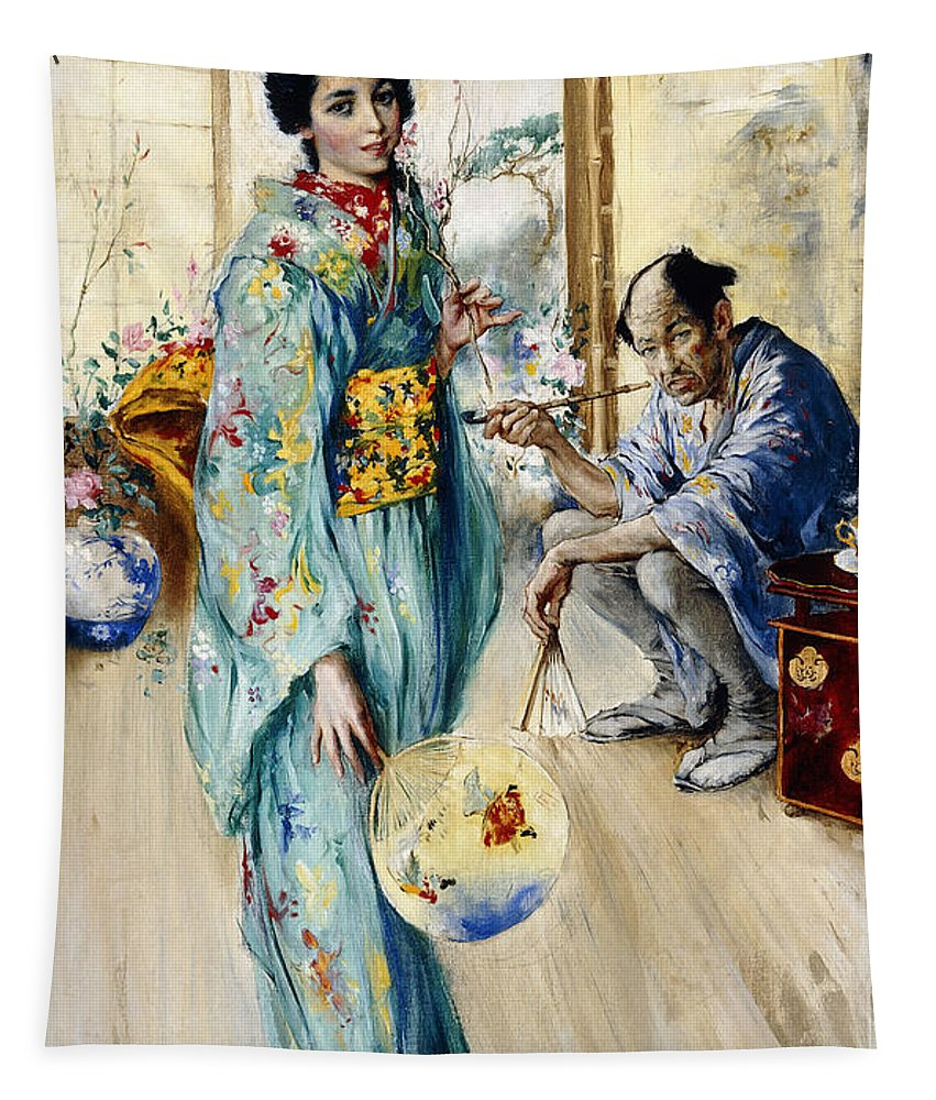 Geisha Tapestry featuring the painting The Lady And Sada San by William Merritt Berger