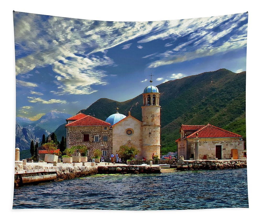 Montenegro Tapestry featuring the photograph The Lady Of The Rocks by Anthony Dezenzio