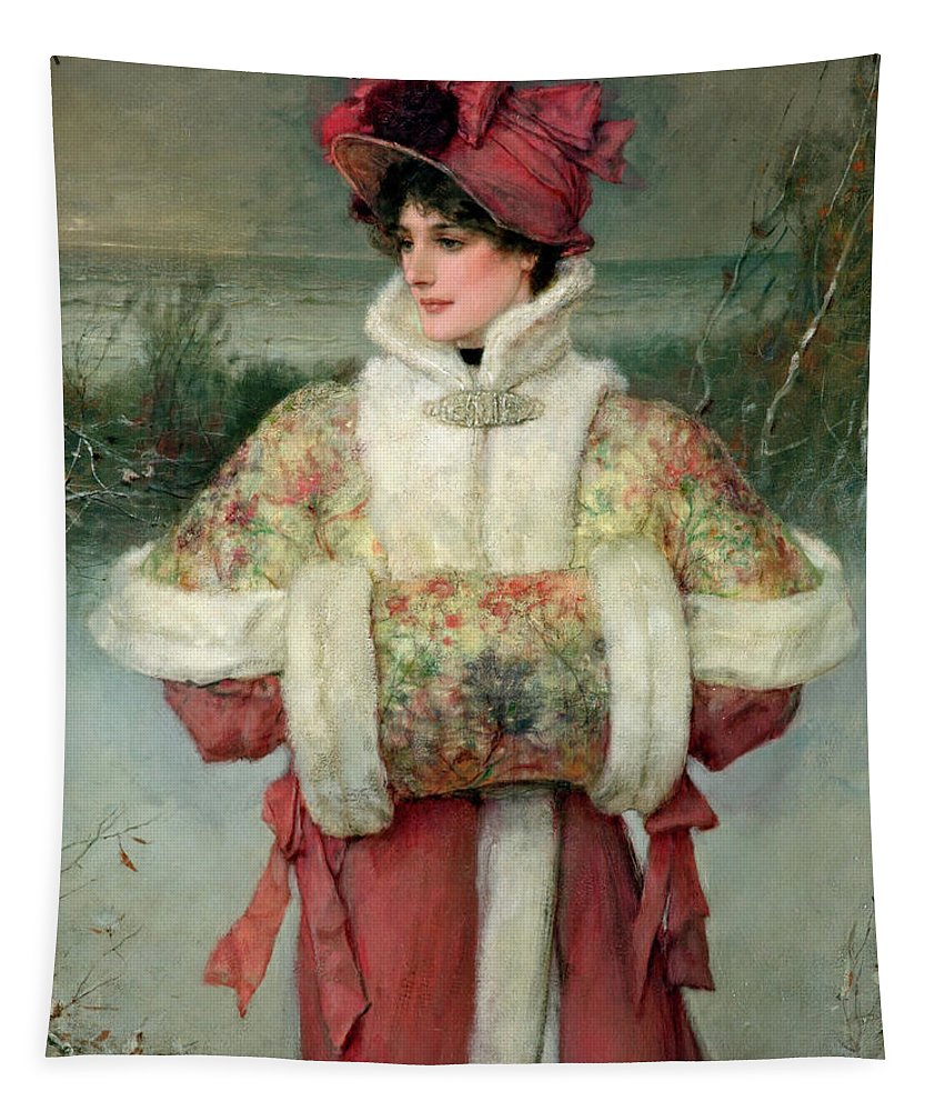 Lady Tapestry featuring the painting The Lady Of The Snows by George Henry Boughton