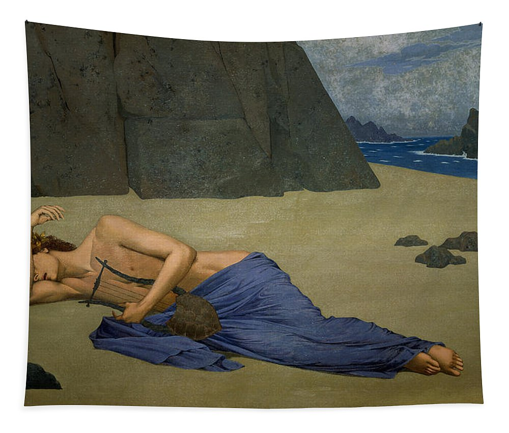 The Lamentation Of Orpheus By Alexandre Seon (1855-1917) Tapestry featuring the painting The Lamentation Of Orpheus by Alexandre Seon