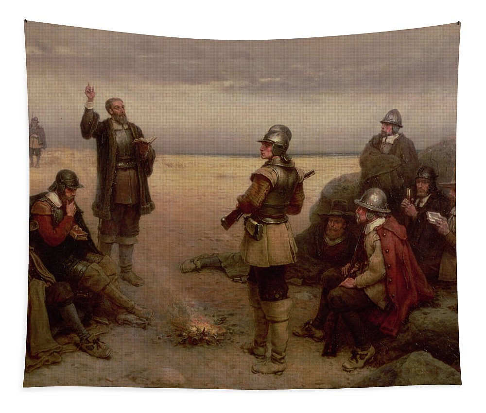 Helmet; Breast Plate; Roundhead; Round; Head; New; World; Founding; Pilgrims; Settlers; United States; Plymouth; Arrival; America; American Beach; Beach; Coast; Coastal Tapestry featuring the painting The Landing Of The Pilgrim Fathers by George Henry Boughton