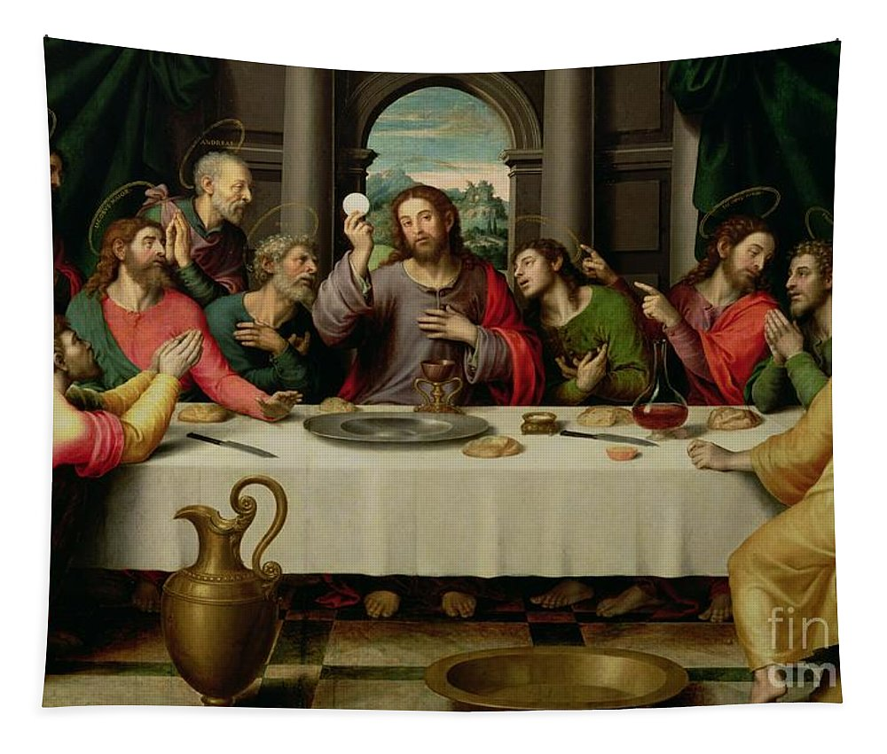 The Last Supper (oil On Panel) By Vicente Juan Macip (juan De Juanes) (c.1510-79) Tapestry featuring the painting The Last Supper by Vicente Juan Macip