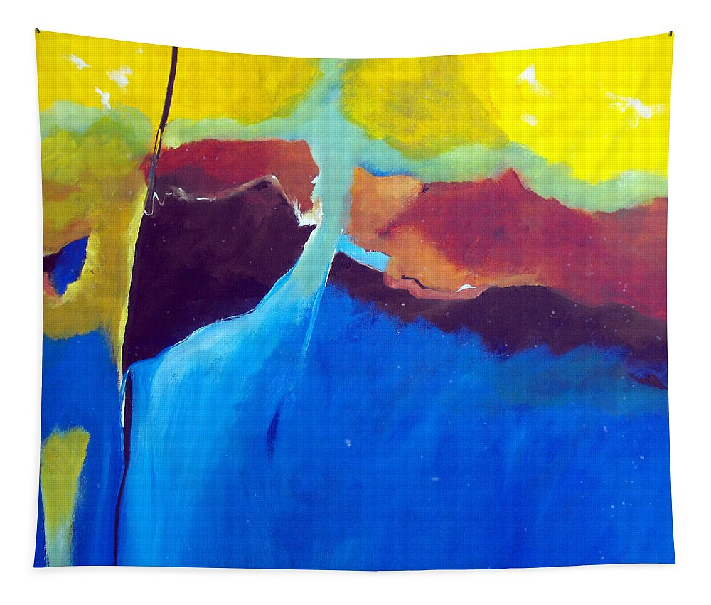 Abstract Tapestry featuring the painting The Lay Of The Land by Ruth Palmer