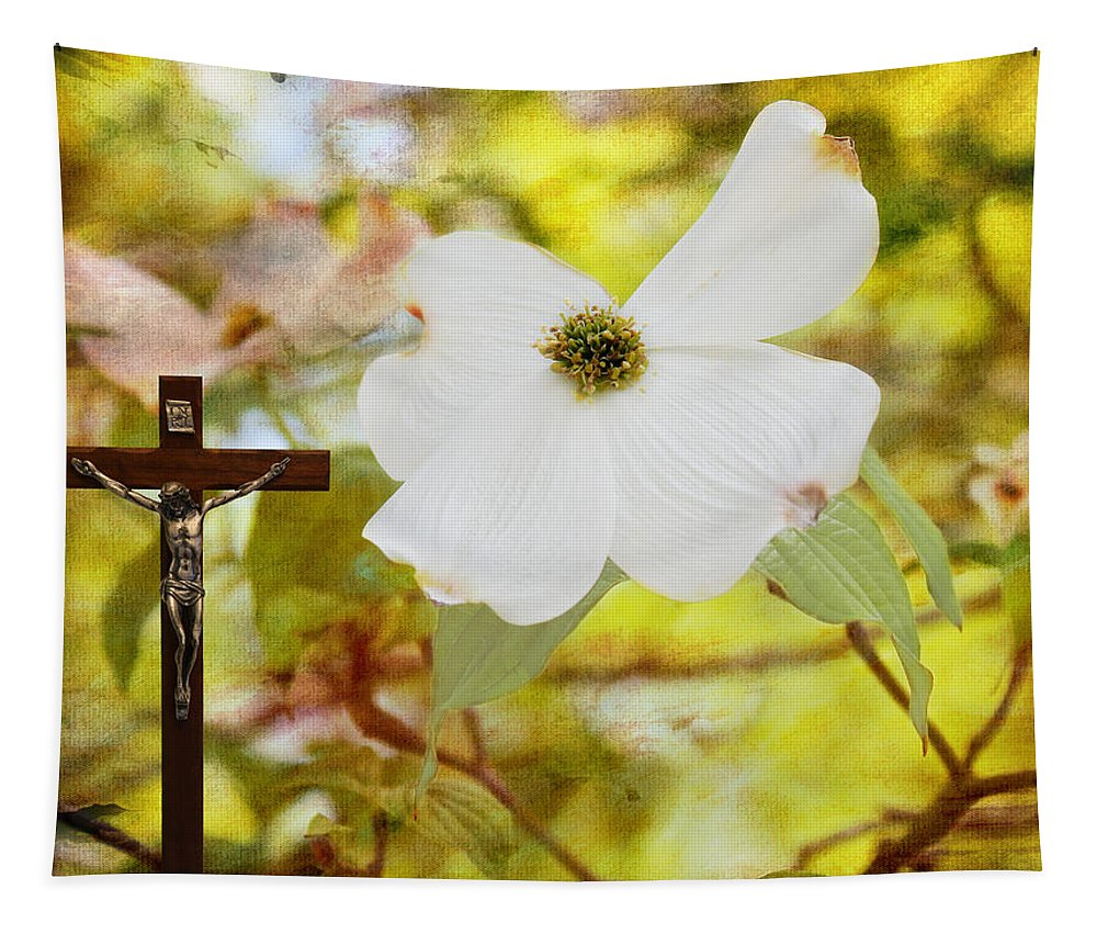 Bloodstains Tapestry featuring the photograph The Legend Of The Dogwood by Judy Vincent