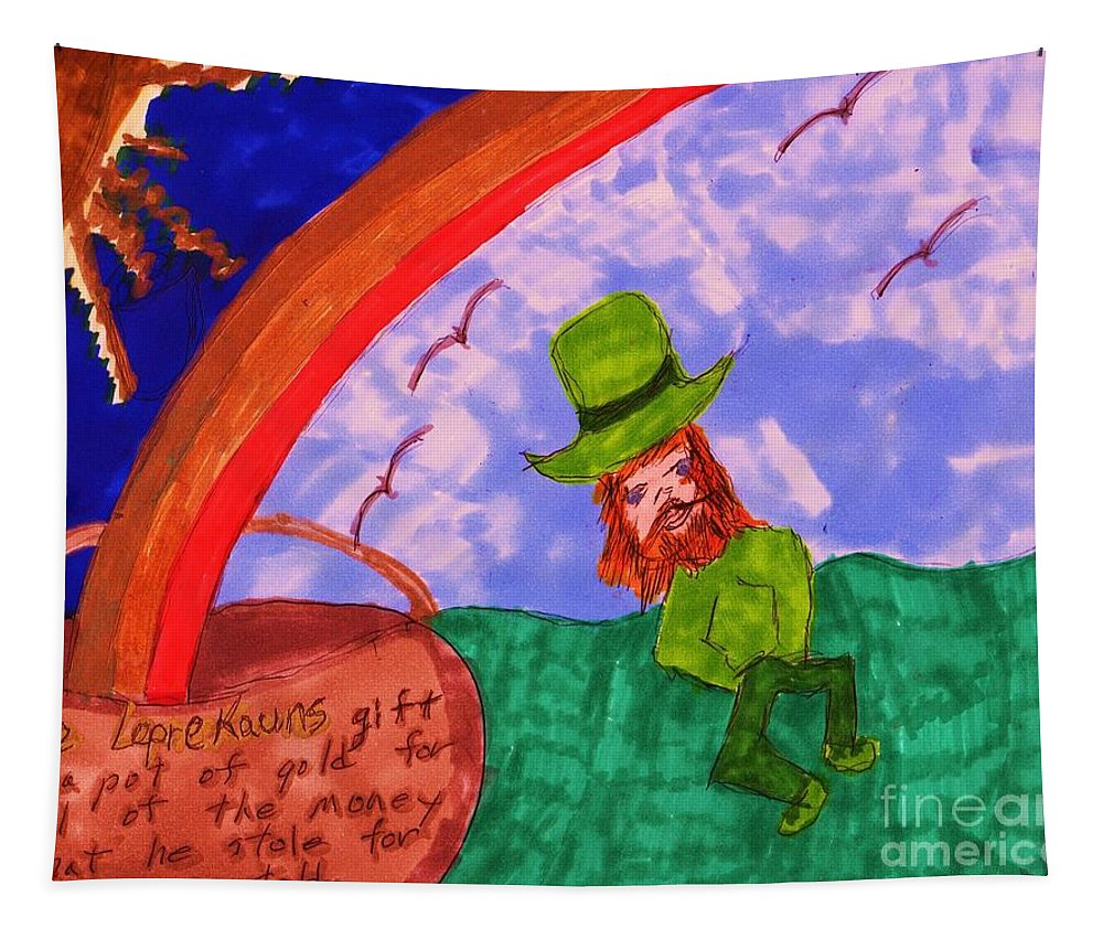 Leprekaun In A Field Dancing A Rainbow Coming From A Pot Of Gold Tapestry featuring the mixed media The Leprekauns Gift by Elinor Helen Rakowski
