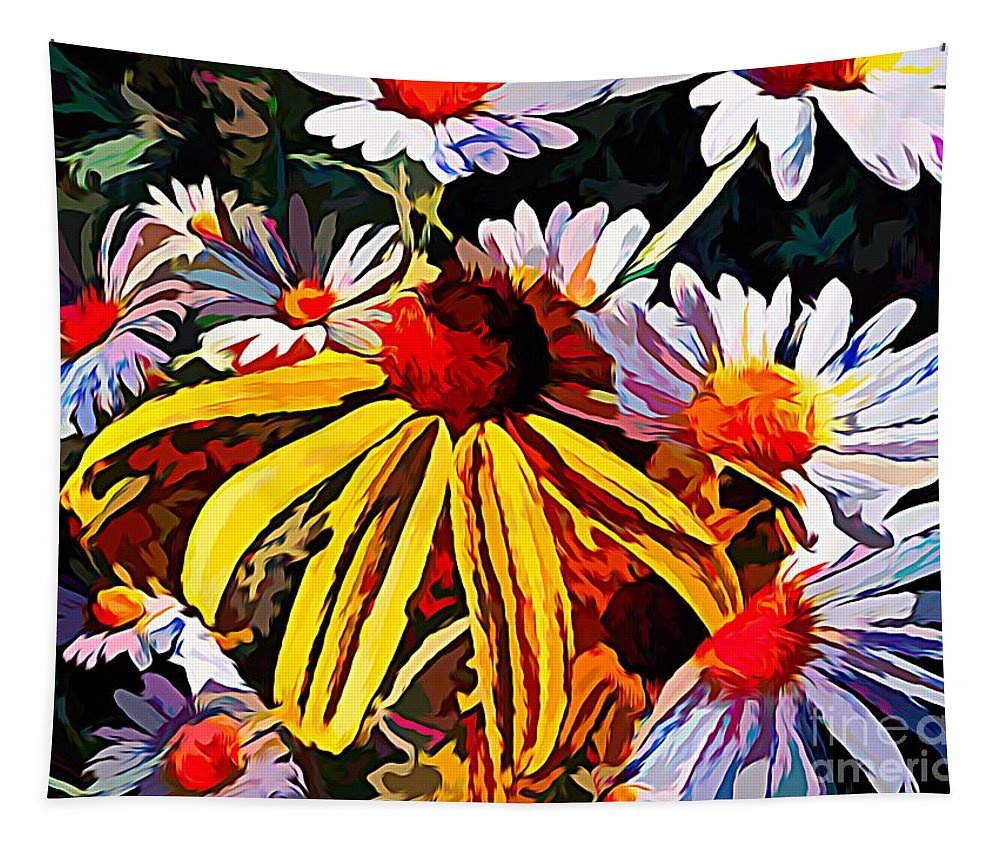 One Tapestry featuring the mixed media The Light Within The Flowers by Debra Lynch