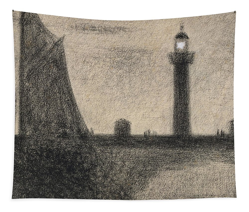 Seurat Tapestry featuring the drawing The Lighthouse At Honfleur by Georges Pierre Seurat