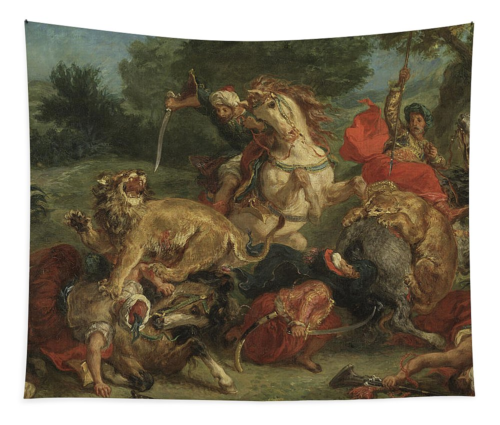 Delacroix Tapestry featuring the painting The Lion Hunt by Ferdinand Victor Eugene Delacroix