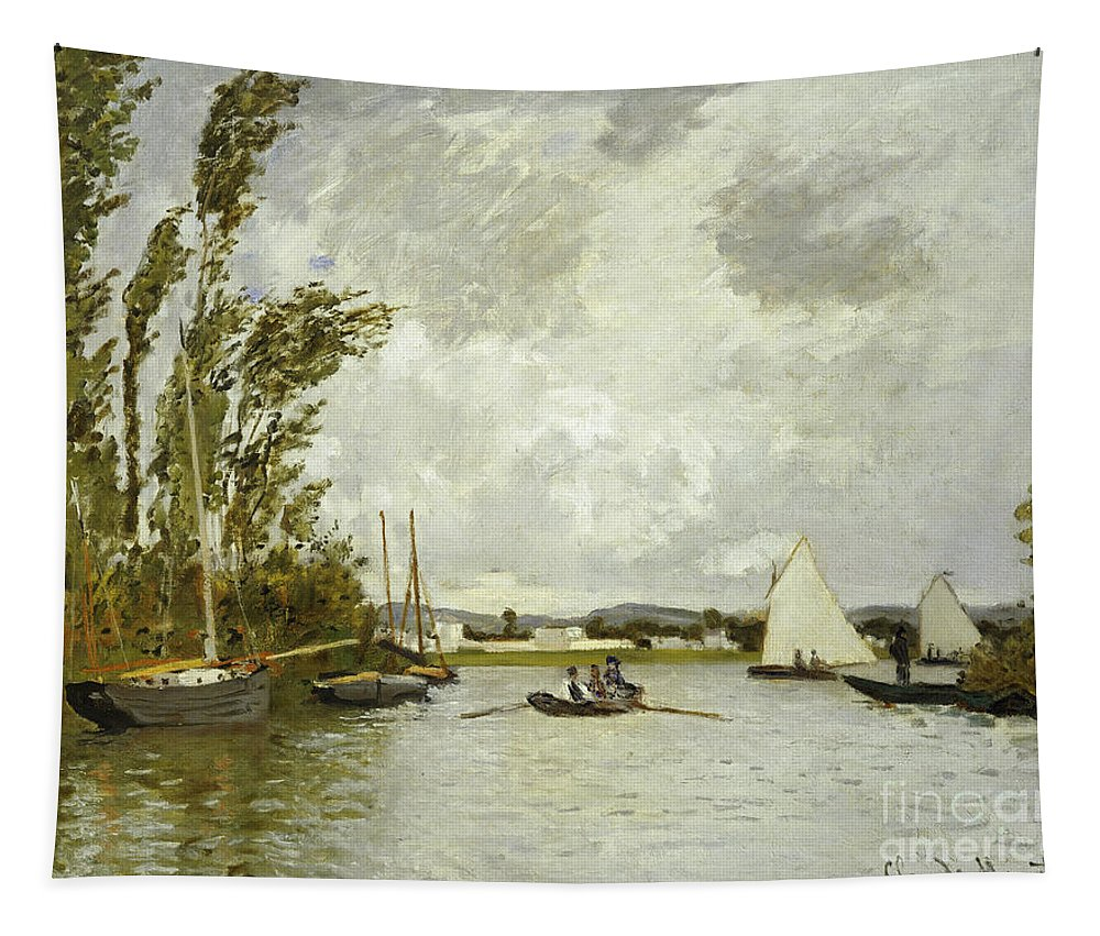 The Little Branch Of The Seine At Argenteuil (oil On Canvas) By Claude Monet (1840-1926) Tapestry featuring the painting The Little Branch Of The Seine At Argenteuil by Claude Monet
