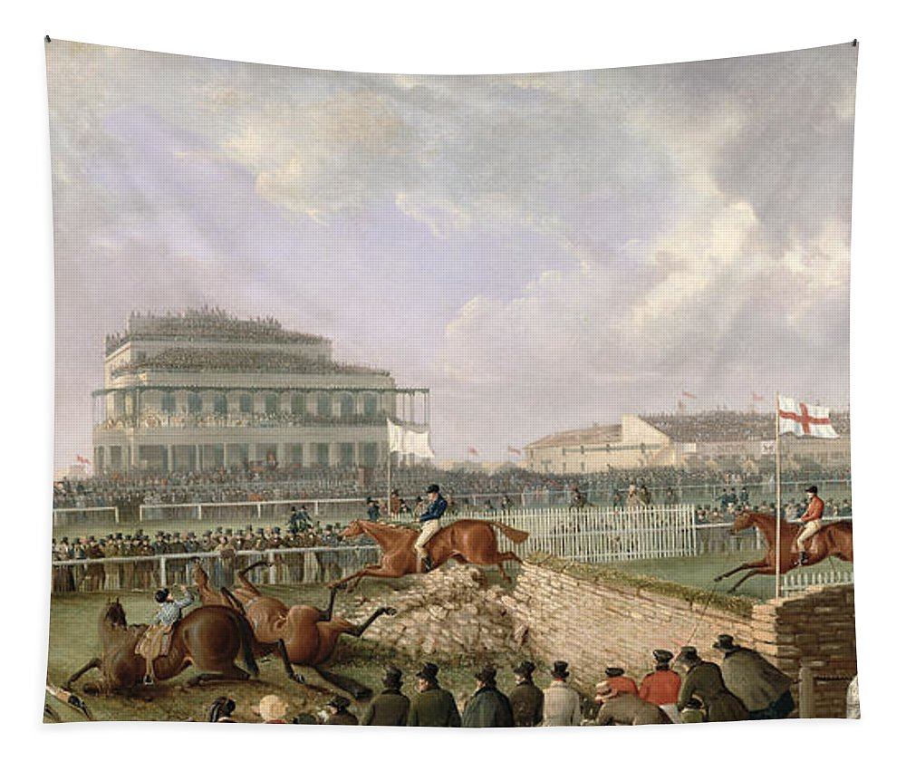 The Tapestry featuring the painting The Liverpool And National Steeplechase At Aintree by William Tasker
