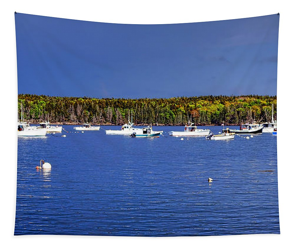 Maine Tapestry featuring the photograph The Lobstering Armada by Olivier Le Queinec