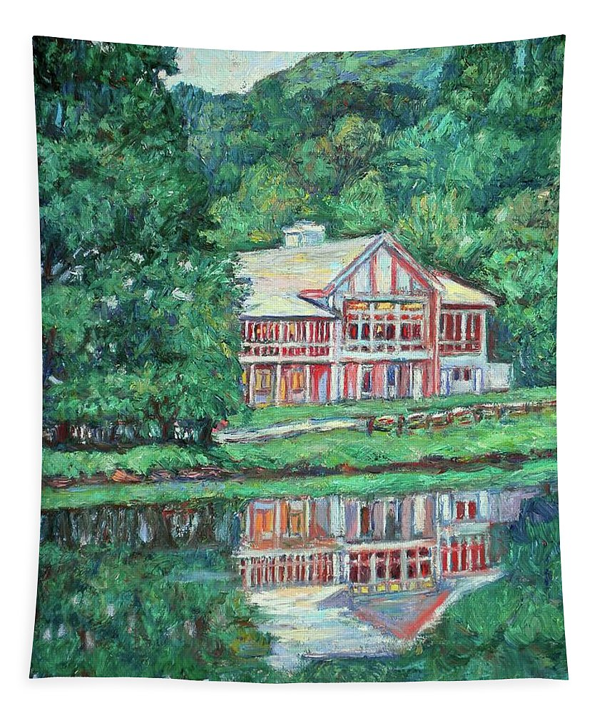 Lodge Paintings Tapestry featuring the painting The Lodge at Peaks of Otter by Kendall Kessler