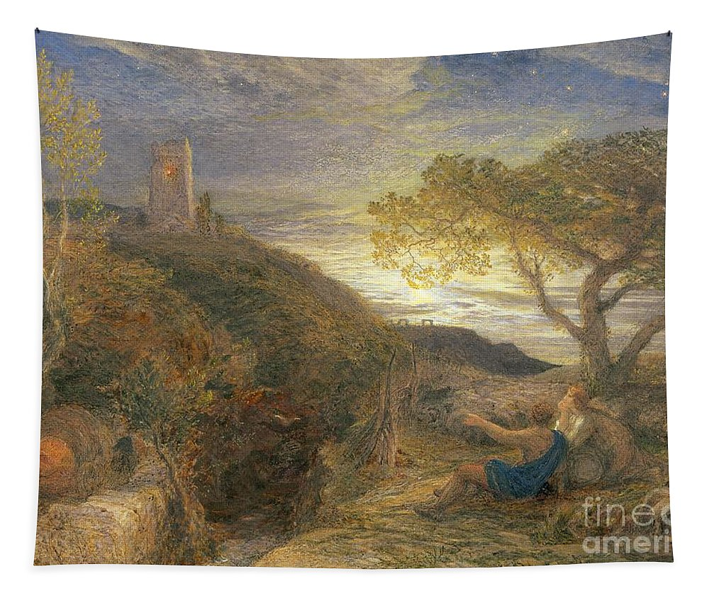 The Tapestry featuring the painting The Lonely Tower by Samuel Palmer