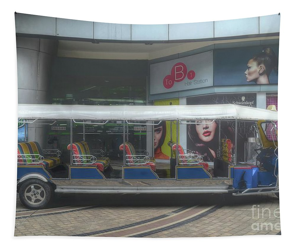 Michelle Meenawong Tapestry featuring the photograph the longest tuk tuk in Bangkok by Michelle Meenawong