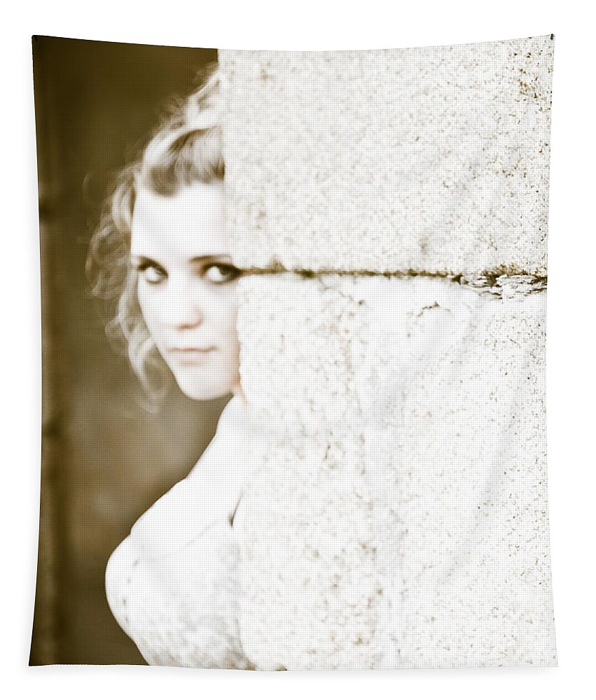 Loriental Tapestry featuring the photograph The Look Behind The Pillar by Loriental Photography