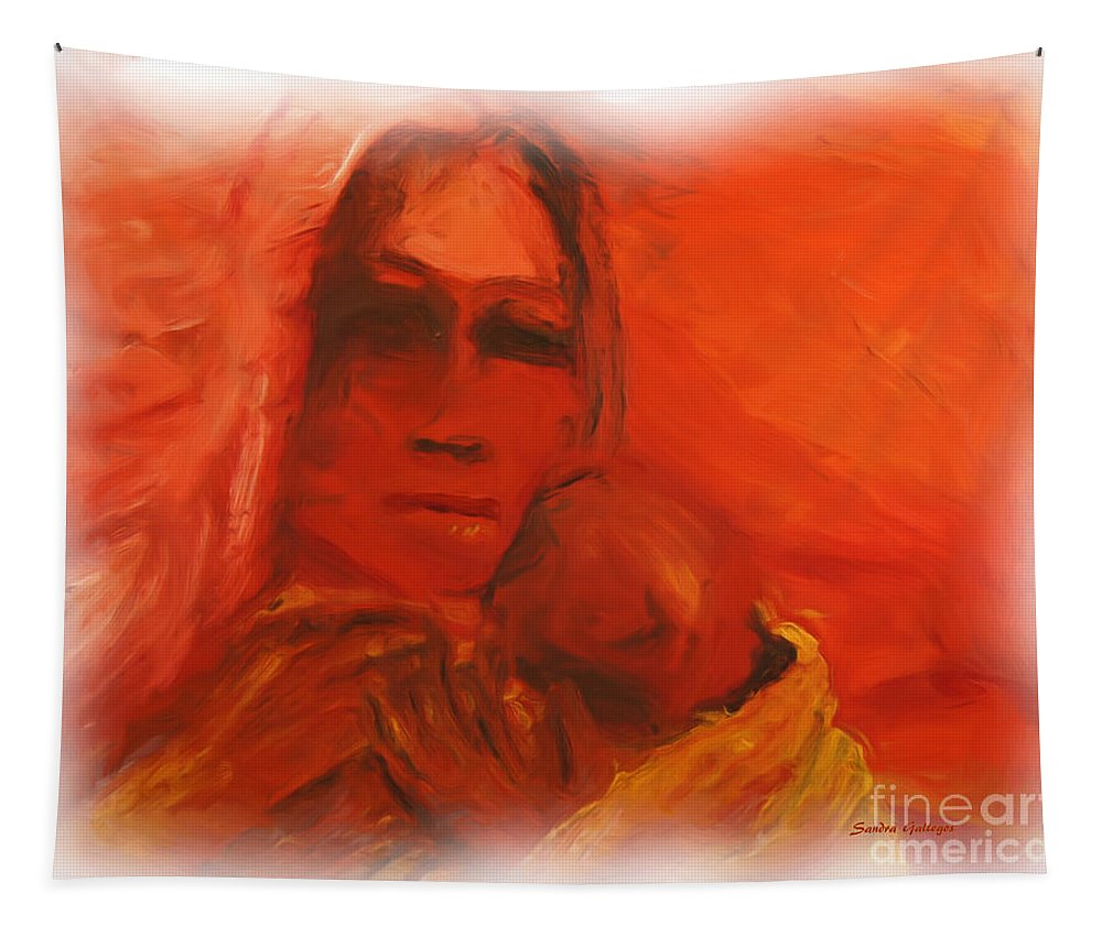 Baby Tapestry featuring the painting The Lost Child by Sandra Gallegos