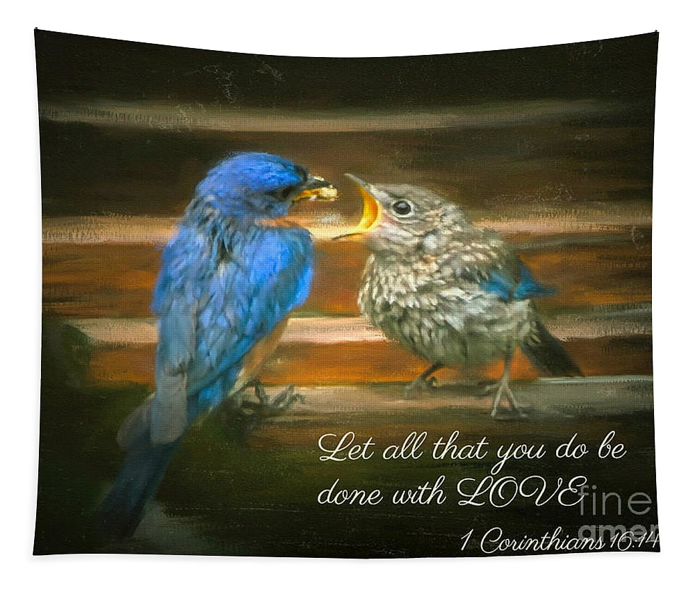 Bluebird Tapestry featuring the photograph The Love Of A Father by Tina LeCour