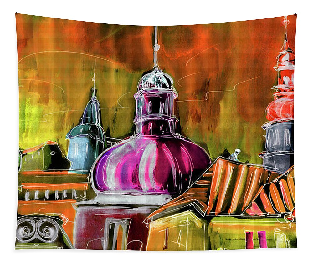 Travel Sketch Tapestry featuring the painting The Magical Rooftops Of Prague 01 by Miki De Goodaboom