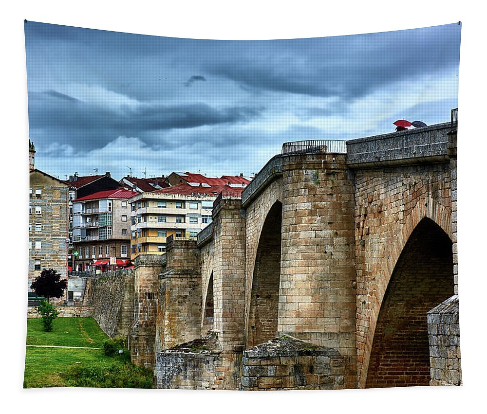 Wall tapestry of Spain showcasing the Roman Bridge
