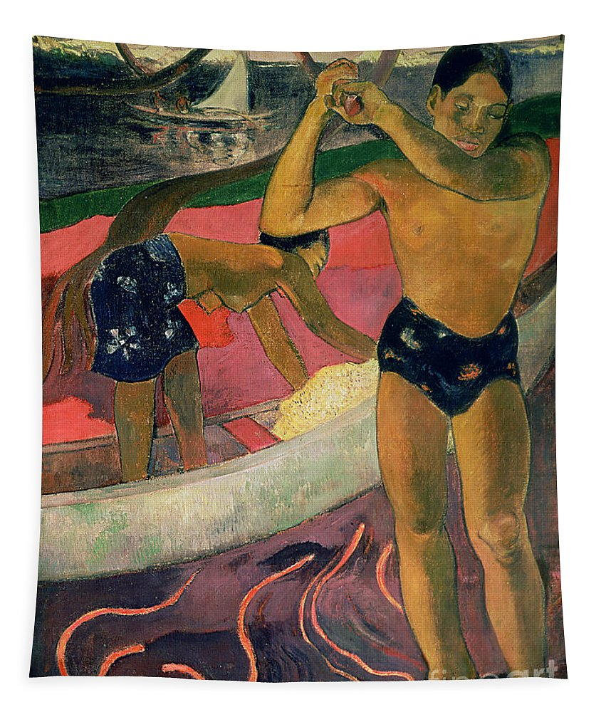 The Man With An Axe Tapestry featuring the painting The Man With An Axe by Paul Gauguin