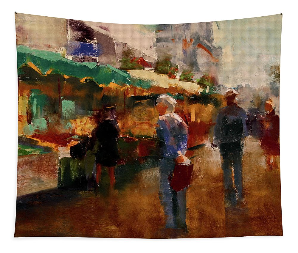 Market Tapestry featuring the pastel The Market by David Patterson