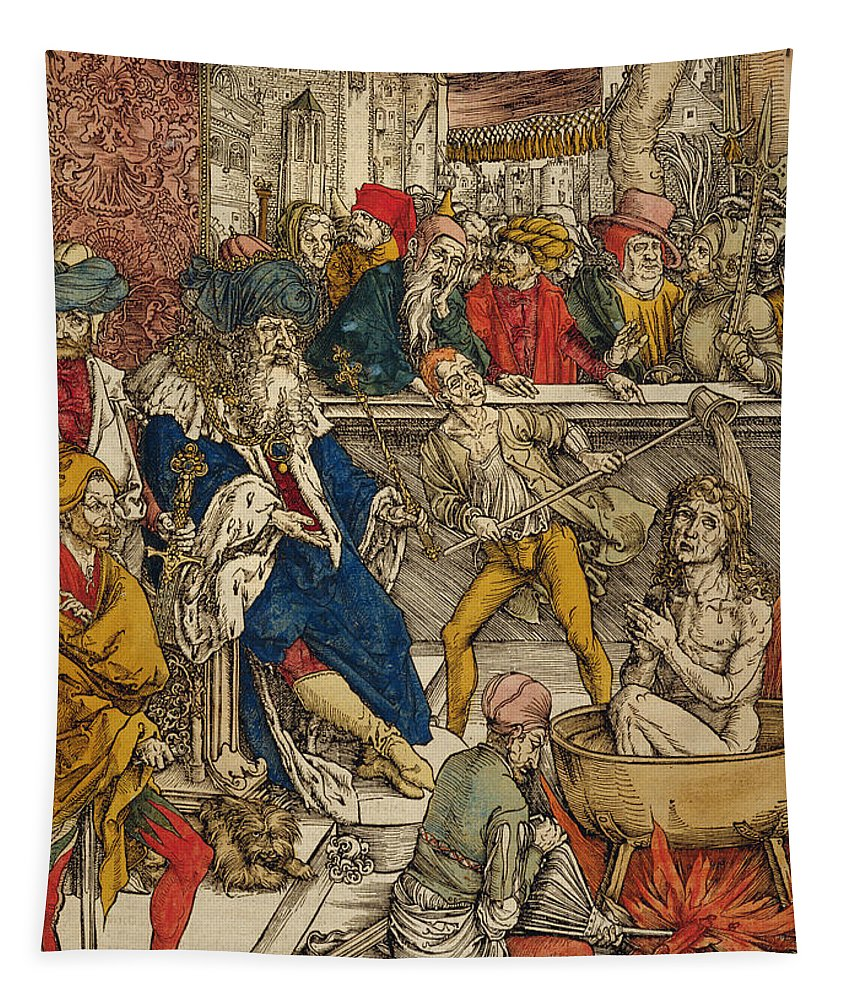 Male Tapestry featuring the painting The Martyrdom Of St John by Albrecht Durer or Duerer