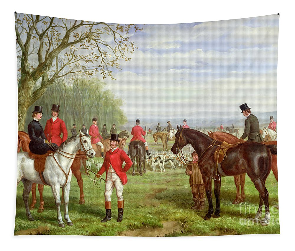 The Tapestry featuring the painting The Meet by Edward Benjamin Herberte