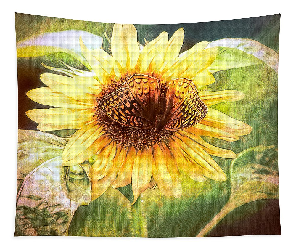 Sunflower Tapestry featuring the photograph The Merge by Tina LeCour