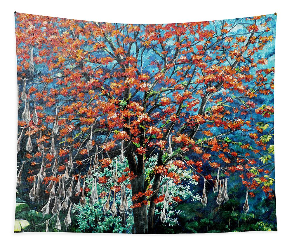 Tree Painting Mountain Painting Floral Painting Caribbean Painting Original Painting Of Immortelle Tree Painting  With Nesting Corn Oropendula Birds Painting In Northern Mountains Of Trinidad And Tobago Painting Tapestry featuring the painting The Mighty Immortelle by Karin Dawn Kelshall- Best