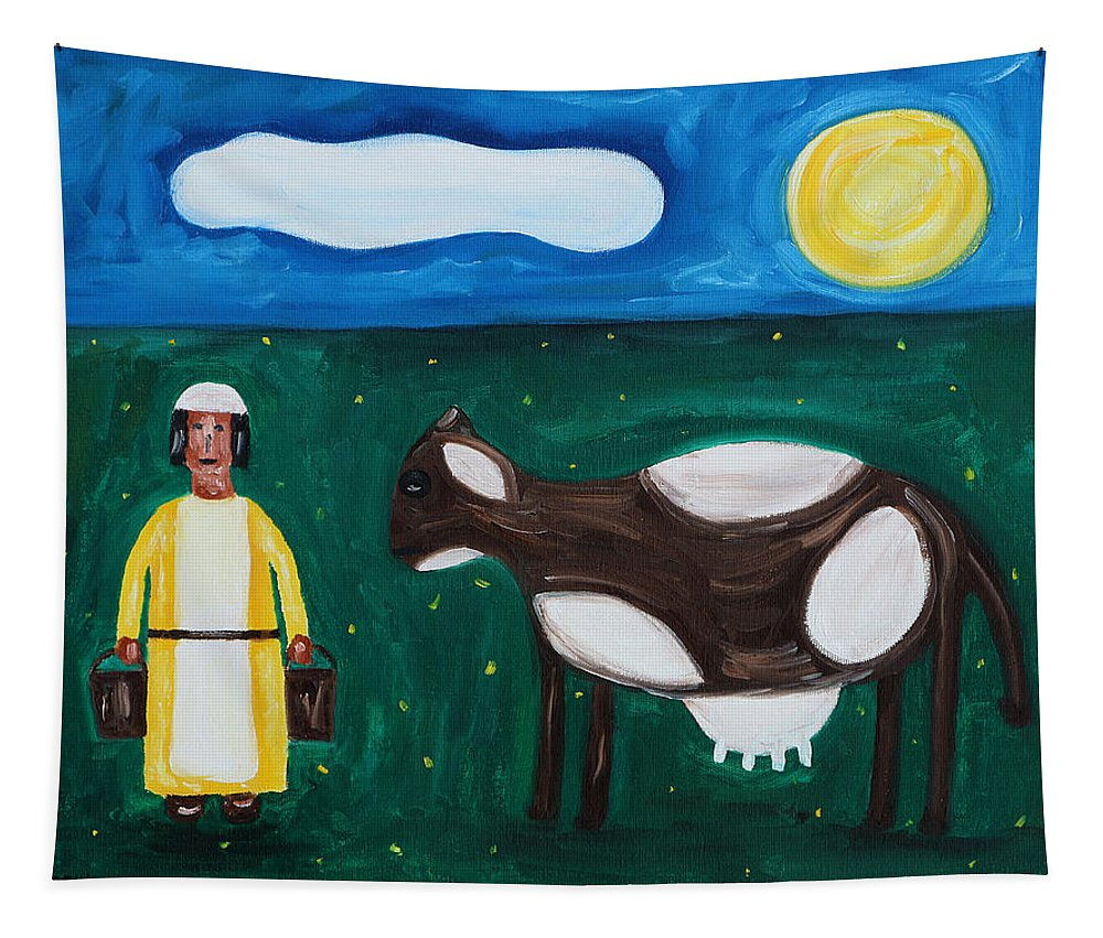 Cows Tapestry featuring the painting The Milkmaid by Patrick J Murphy