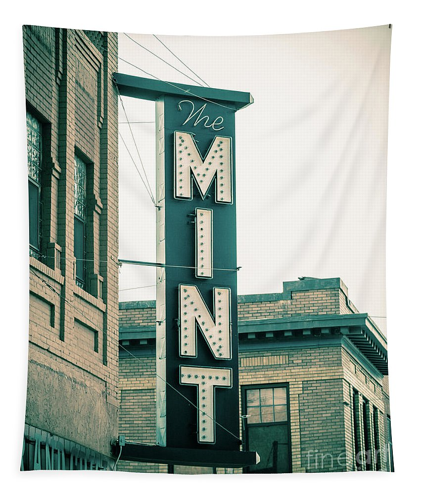 Livingston Tapestry featuring the photograph The Mint Classic Neon Sign Livingston Montana by Edward Fielding