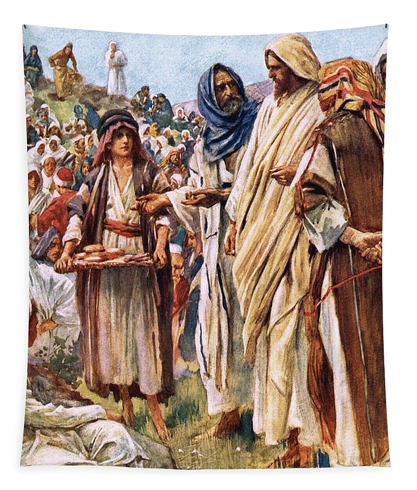Bible Tapestry featuring the painting The Miracle Of The Loaves And Fishes by Harold Copping