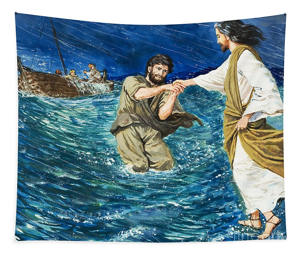 Jesus Christ; Miracle; Saint Peter; St; Lake; Fisherman; Fishing Boat; Storm; Wave; Sinking; Helping; Belief; Believing; Followers Tapestry featuring the painting The Miracles Of Jesus Walking On Water by Clive Uptton