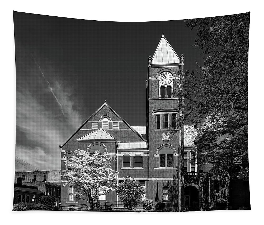 Monongalia County Tapestry featuring the photograph The Monongalia County Courthouse - Morgantown West Virginia by Mountain Dreams
