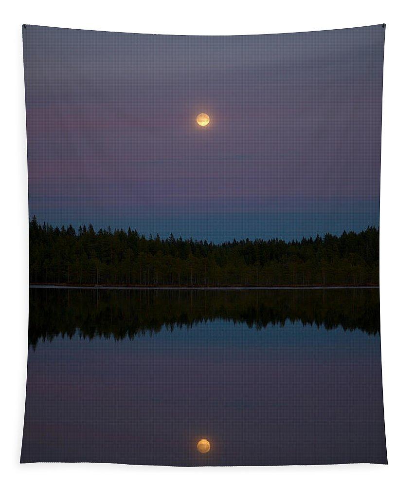 Lehtokukka Tapestry featuring the photograph The Moon Over Kirkas-soljanen 3 by Jouko Lehto
