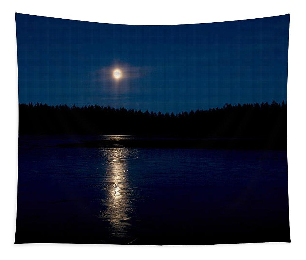 Lehtokukka Tapestry featuring the photograph The Moon Over Saari-soljanen 2 by Jouko Lehto