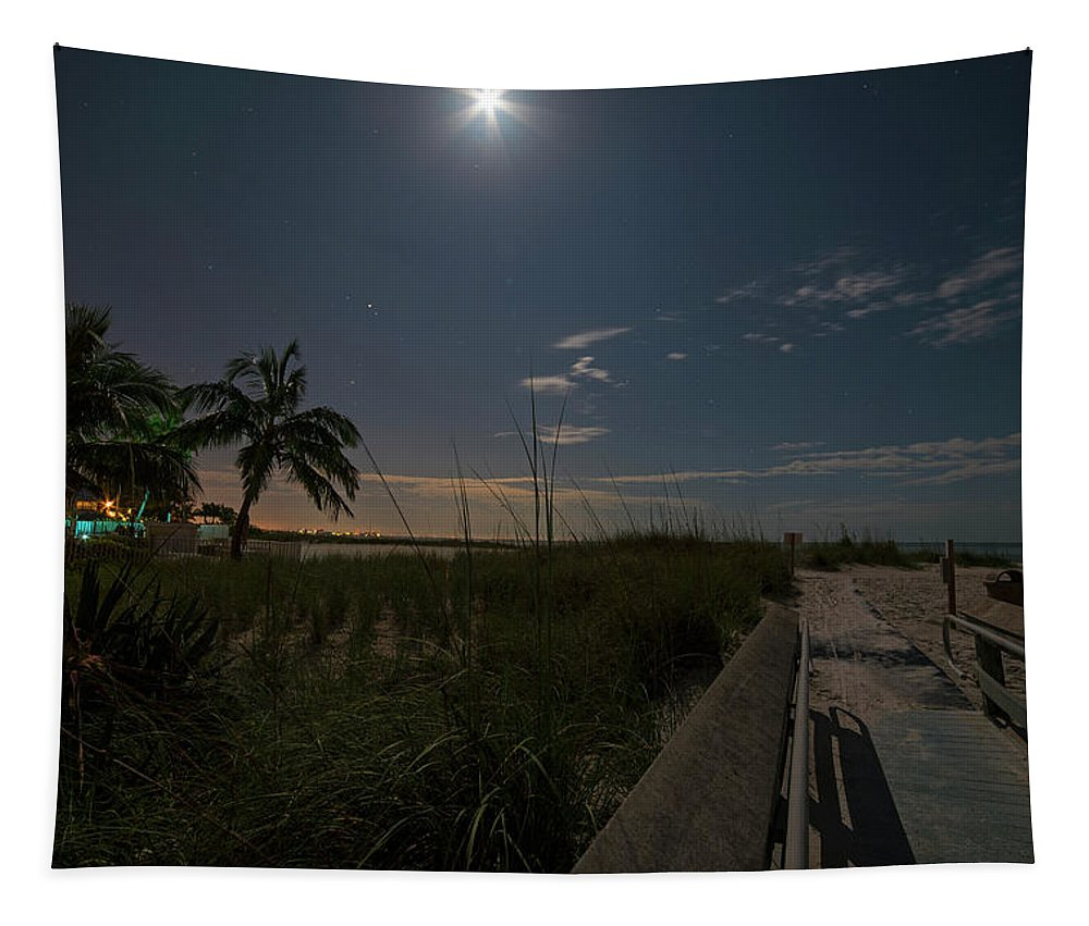 Fort Tapestry featuring the photograph The Moonit Path To Fort Myers Beach Fort Myers Florida by Toby McGuire