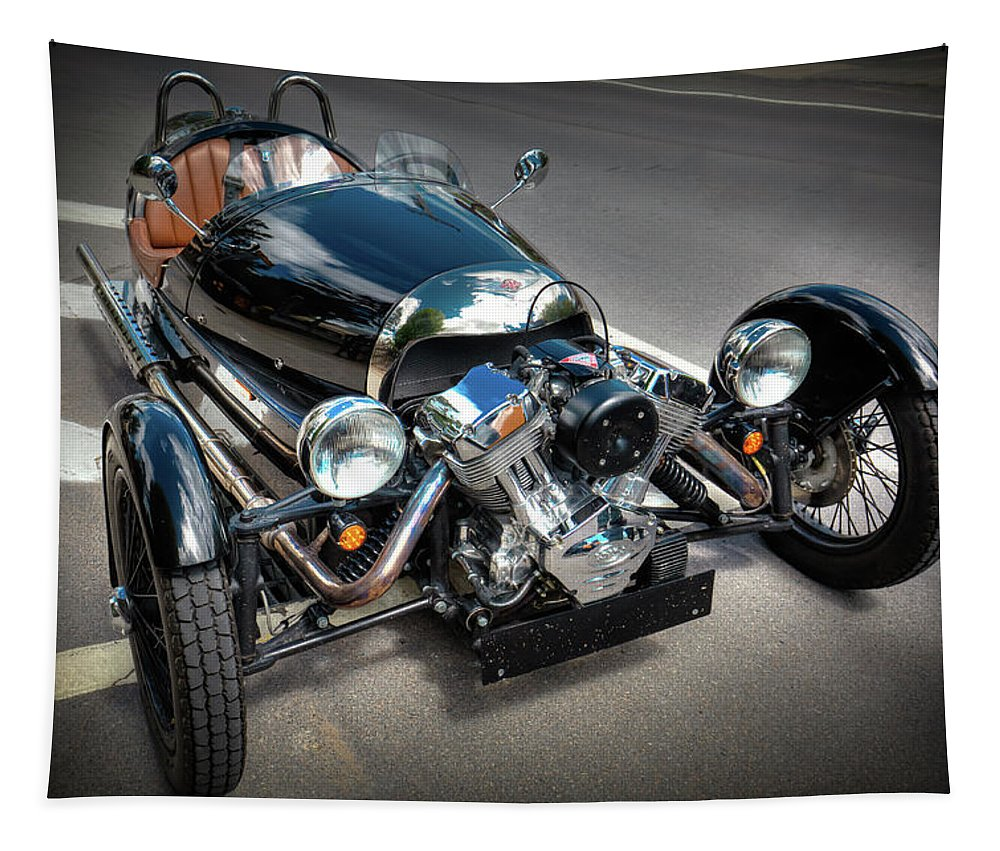 The Morgan Three Wheeler Tapestry featuring the photograph The Morgan Three Wheeler by David Patterson