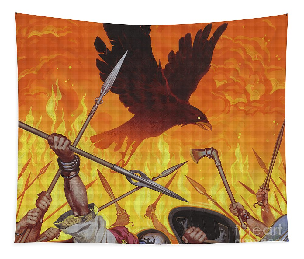 Morrigan Tapestry featuring the painting The Morrigan by Angus McBride
