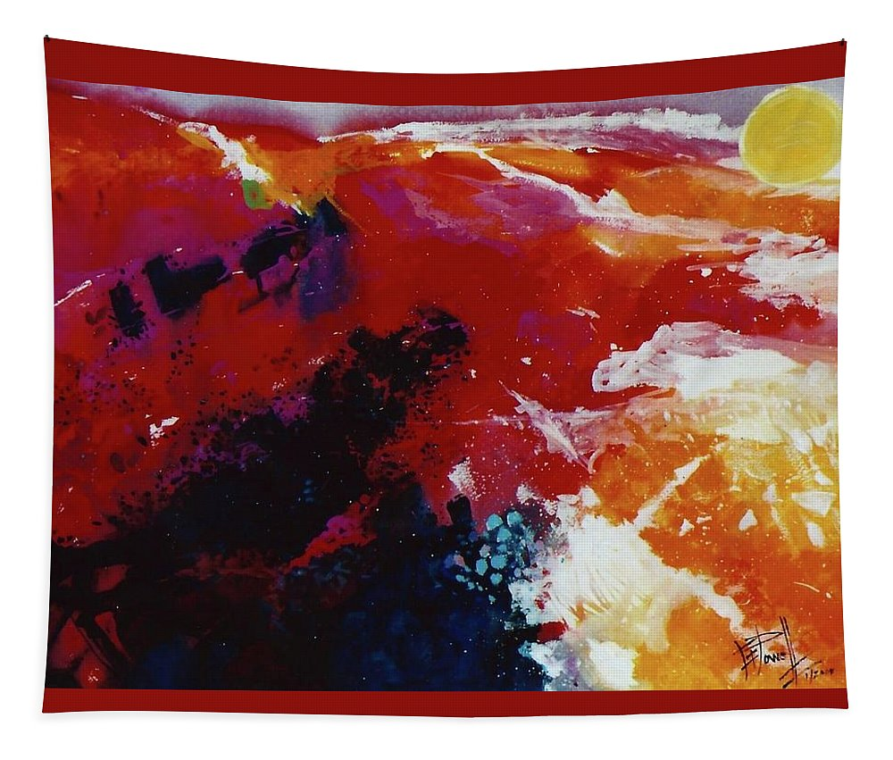 Abstract Tapestry featuring the painting The Mountings Of The Sun by George Powell