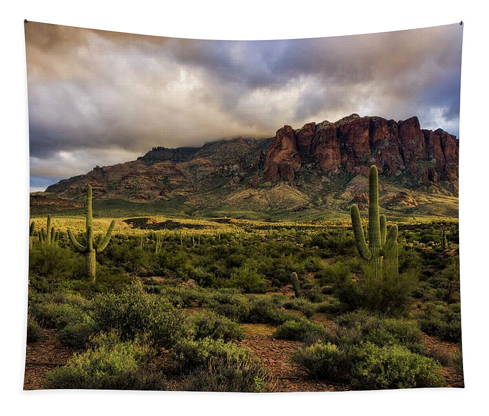 Superstition Mountains Tapestry featuring the photograph The Mystical Beauty Of The Superstitions by Saija Lehtonen